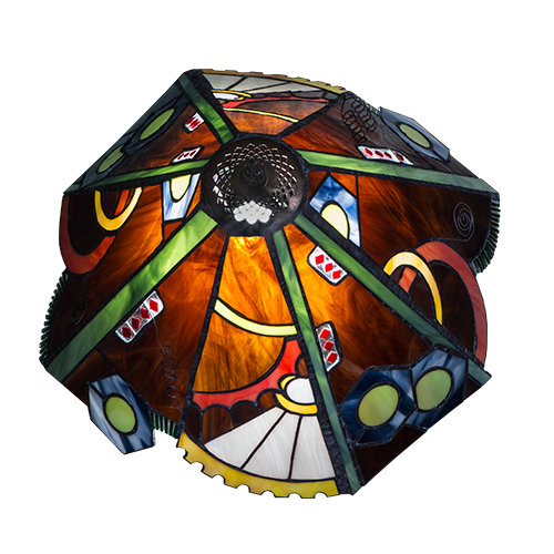 Steampunk 'Tiffany' Style Stained Glass Lampshade - Top View