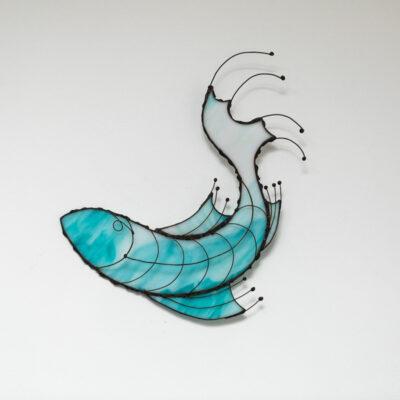 Turning Fish aqua and white