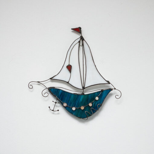 Fantasy boat turquoise with white sail