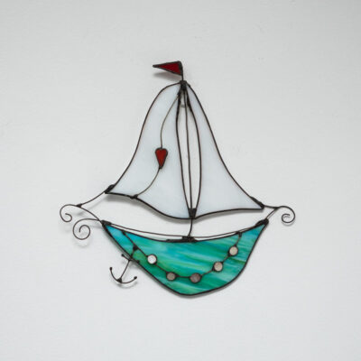 Fantasy boat aqua with white sails