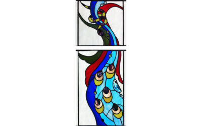 Peacock and snake stained glass window commission