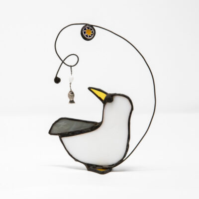 Stained glass gull sculpture
