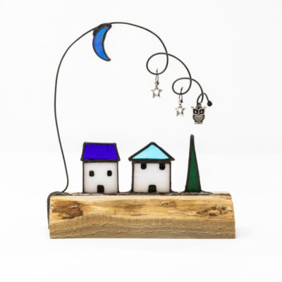 Little houses at night sculpture