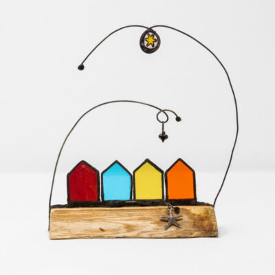 Beach huts sculpture