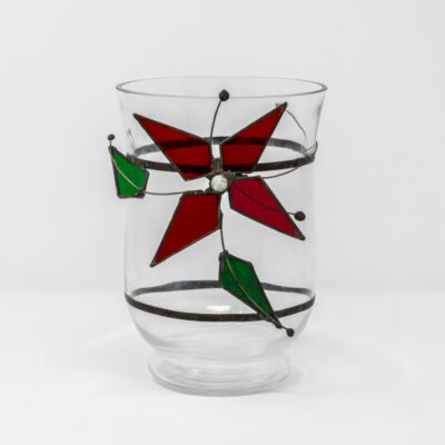 Red poinsettia storm jar
