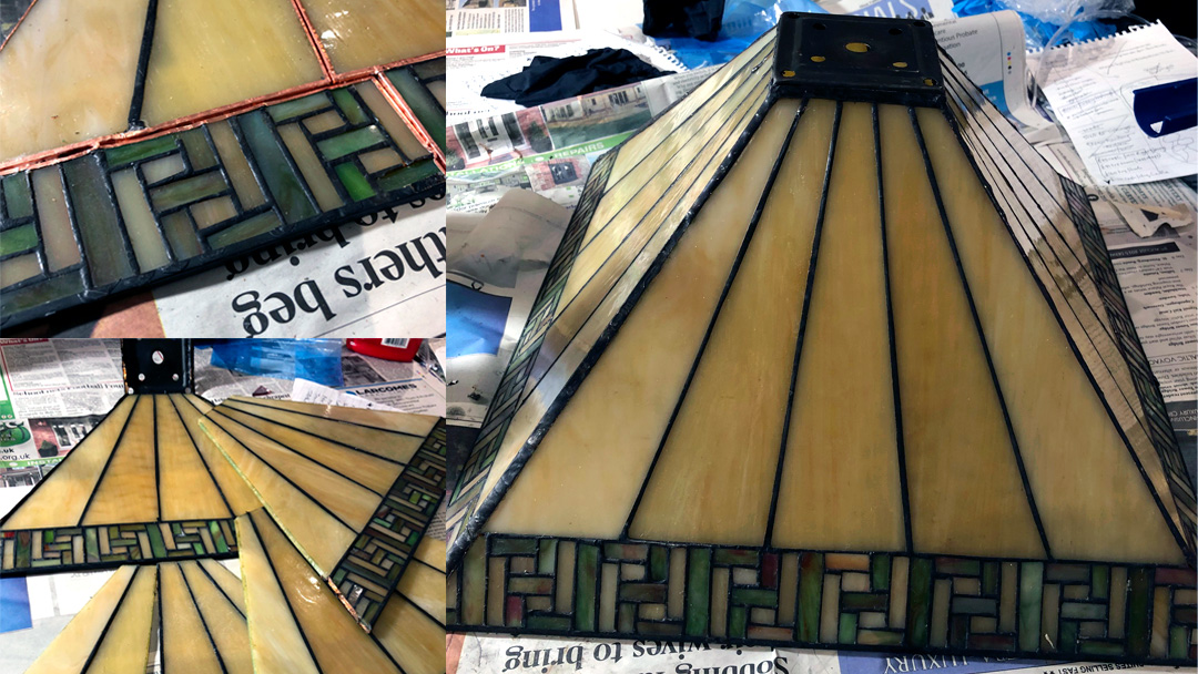 Tiffany lamp repair: from flat pack to restored back