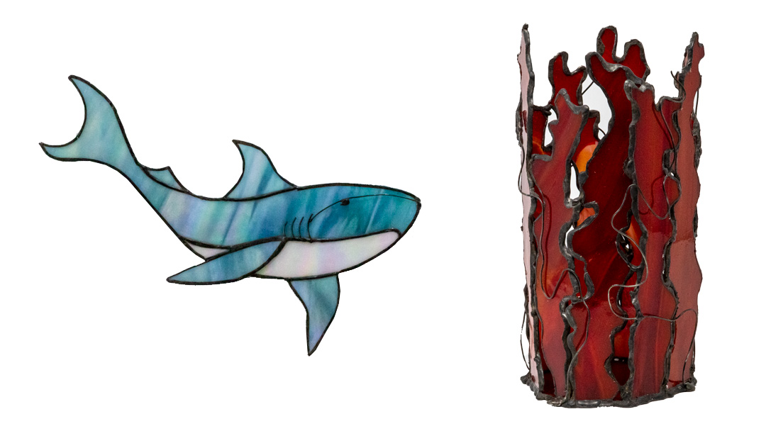 Stained glass shark and red goblet