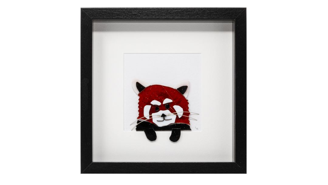 A cute red panda picture in stained glass