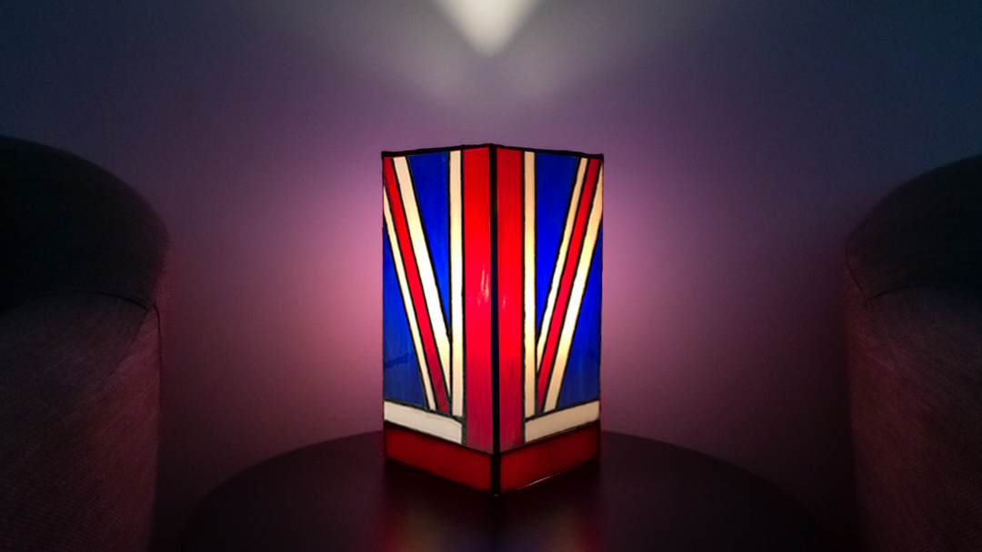 Stained glass Union Jack table lamp