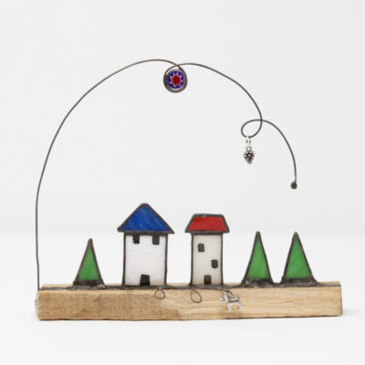 stained glass little houses sculpture