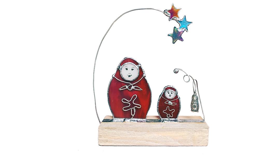 Russian Matryoshka nesting doll glass sculpture