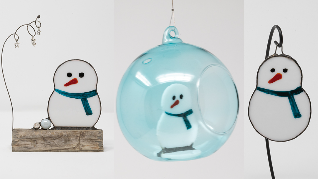 Super stained glass snowman decorations