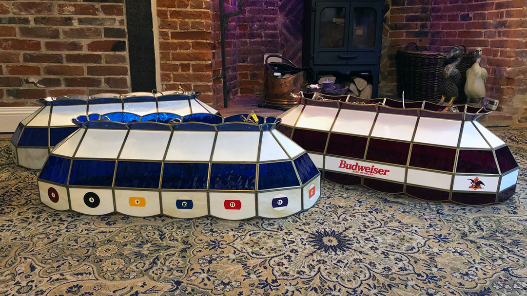 Stained glass pool table lamps repaired