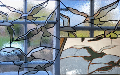 Contemporary stained glass seagulls window