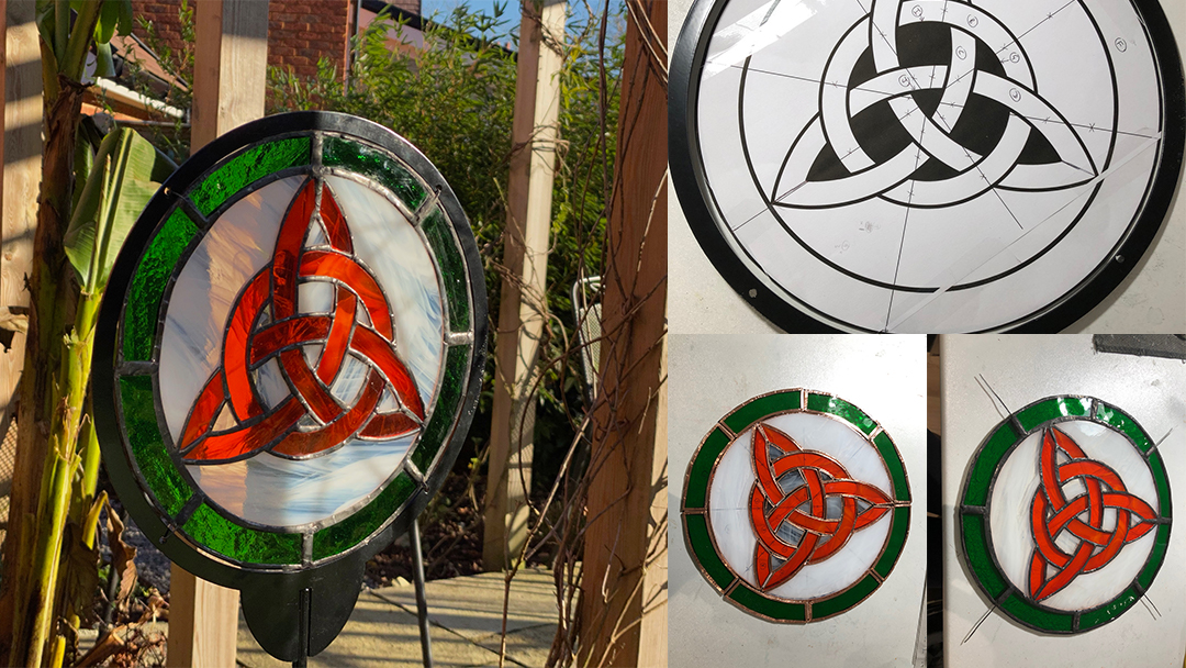 Celtic Knot stained glass garden sculpture
