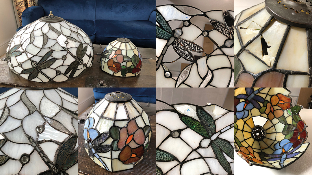 Two dragonfly Tiffany lamp repairs