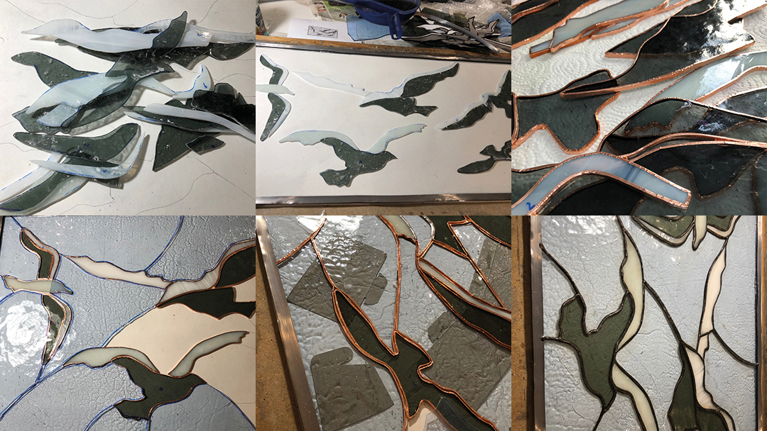 Another seagulls contemporary stained glass window for Southsea