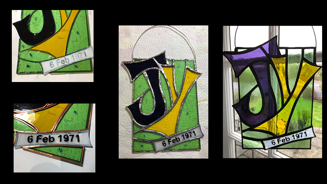 Personalised wedding anniversary gift in stained glass