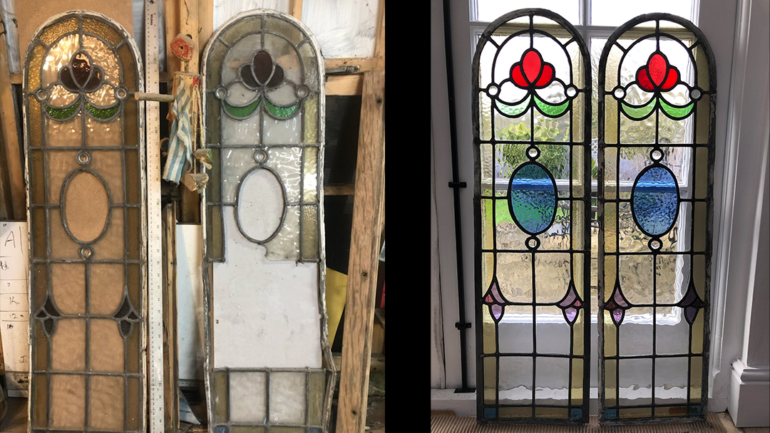 Traditional stained glass door glass repairs