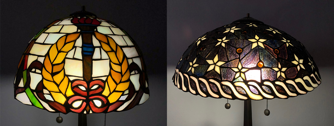 Two Tiffany lamps repaired for same owner