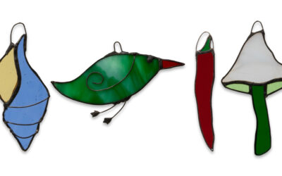 New stained glass light catchers: birds, mushrooms, chillis, seashells…