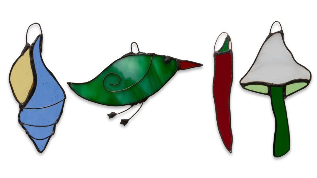 New stained glass light catchers: birds, mushrooms, chillis, seashells…