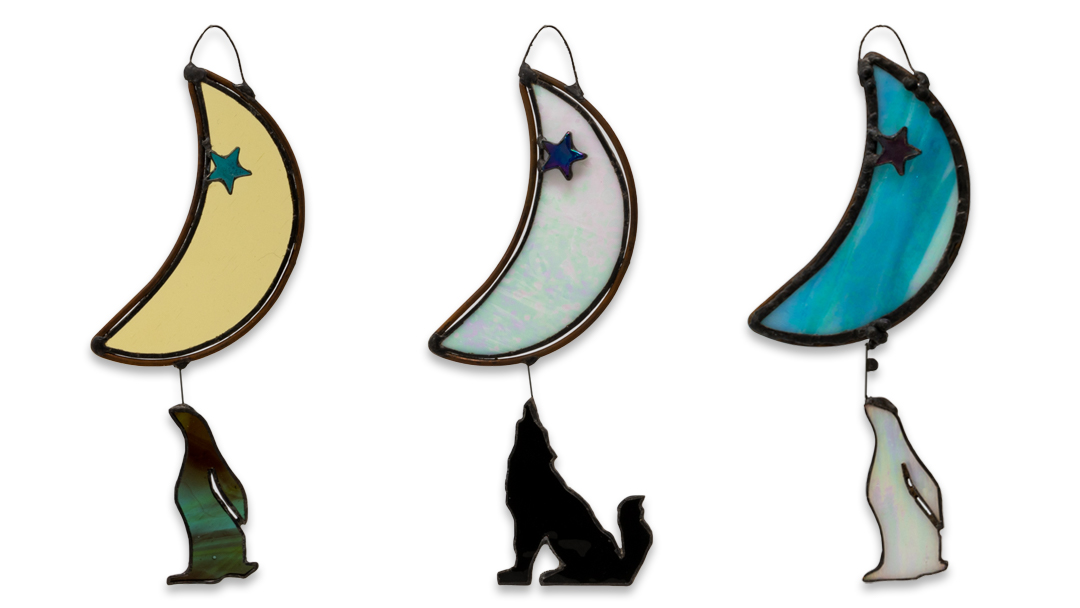 Spiritual wall art – moon-gazing hares and wolf stained glass artworks