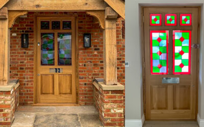 Stained glass encapsulation for new front door