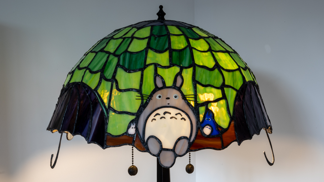 Totoro featured on stained glass lamp