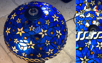 Blue and star Tiffany lamp repair