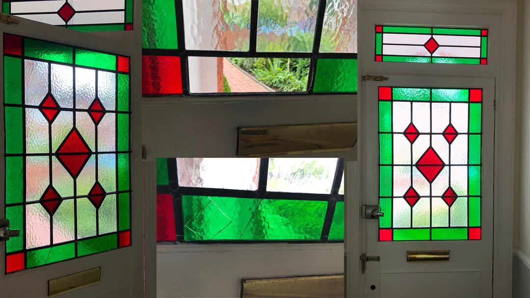 Stained glass door repair in situ