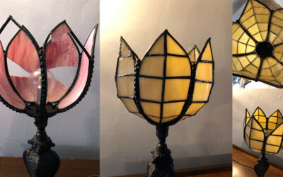 New glass petals for old glass lampshade