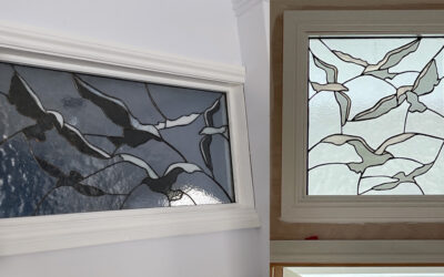 Seagulls stained glass windows find perches