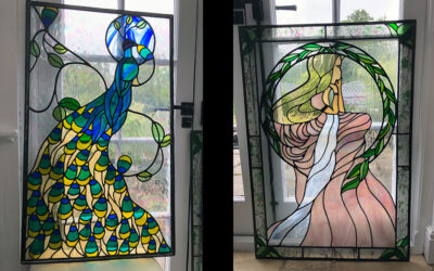 Repairs to two ornate stained glass door panels